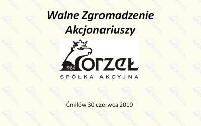 Prezentacja Zarządu na WZA